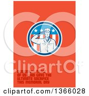 Clipart Of A Retro Saluting Soldier In An American Circle With Remember Those Of Us Who Gave The Ultimate Sacrifice This Memorial Day Text On Orange Royalty Free Illustration