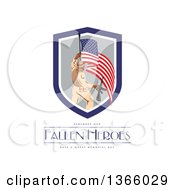 Clipart Of A Soldier Holding A Rifle And An American Flag Over Remember Our Fallen Heroes Have A Great Memorial Day Text On White Royalty Free Illustration