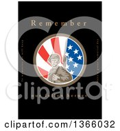 Clipart Of A Retro WWII American Soldier With A Bayonet In An American Flag Circle With Remember Our Fallen Heroes Text On Black Royalty Free Illustration