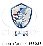 Clipart Of An American Soldier Weilding A Flag Over Remember Our Fallen Heroes Have A Great Memorial Day Text On White Royalty Free Illustration by patrimonio