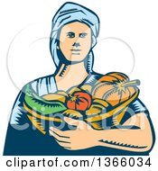 Clipart Of A Retro Woodcut White Female Farmer Holding A Basket Of Harvest Vegetables Royalty Free Vector Illustration