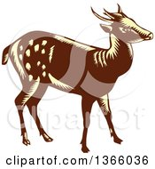 Clipart Of A Retro Woodcut Brown And Yellow Visayan Or Philippine Spotted Deer Royalty Free Vector Illustration