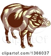 Clipart Of A Retro Woodcut Brown And Yellow Philippine Warty Pig Royalty Free Vector Illustration