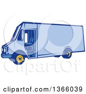 Clipart Of A Retro Woodcut Blue Delivery Van Royalty Free Vector Illustration