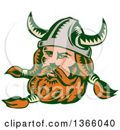 Clipart Of A Retro Woodcut Viking Norseman Warrior With A Long Beard And Horned Helmet Royalty Free Vector Illustration by patrimonio