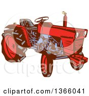 Clipart Of A Retro Red And Blue Woodcut Vintage Farm Tractor Royalty Free Vector Illustration