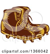 Clipart Of A Retro Woodcut Brown And Orange Pair Of Rugby Football Boots Royalty Free Vector Illustration