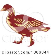Clipart Of A Retro Brown And Yellow Woodcut Walking Goose Royalty Free Vector Illustration