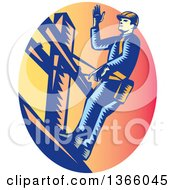 Clipart Of A Retro Woodcut Lineman On A Post In A Sunset Oval Royalty Free Vector Illustration by patrimonio