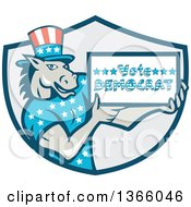 Clipart Of A Retro Cartoon Donkey Wearing A Top Hat And Holding A Vote Democrat Sign In A Shield Royalty Free Vector Illustration