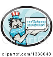 Clipart Of A Retro Cartoon Donkey Wearing A Top Hat And Holding A Vote Democrat Sign In An Oval Royalty Free Vector Illustration
