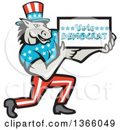 Clipart Of A Retro Cartoon Donkey Wearing A Top Hat Kneeling And Holding A Vote Democrat Sign Royalty Free Vector Illustration