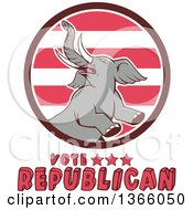 Clipart Of A Retro Rearing Political Elephant In A Circle With Vote Republican Text Royalty Free Vector Illustration