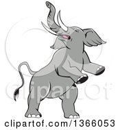Clipart Of A Cartoon Prancing And Rearing Elephant Royalty Free Vector Illustration