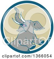 Clipart Of A Retro Cartoon Prancing And Rearing Elephant In A Blue White And Tan Circle Royalty Free Vector Illustration