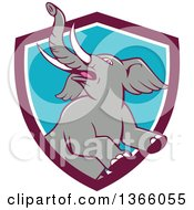 Clipart Of A Cartoon Prancing And Rearing Elephant In A Purple White And Blue Shield Royalty Free Vector Illustration