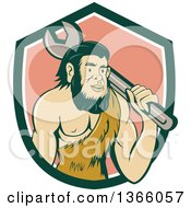Clipart Of A Retro Cartoon Caveman Mechanic Holding A Giant Spanner Wrench Over His Shoulder In A Shield Royalty Free Vector Illustration by patrimonio