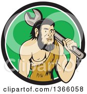 Clipart Of A Cartoon Caveman Mechanic Holding A Giant Spanner Wrench Over His Shoulder In A Black White And Green Circle Royalty Free Vector Illustration by patrimonio