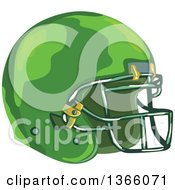 Clipart Of A WPA Styled Green American Football Helmet Royalty Free Vector Illustration