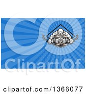 Clipart Of A Muscular Strongman Working Out With Chains And Dumbbells In A Diamond And Blue Rays Background Or Business Card Design Royalty Free Illustration
