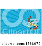 Clipart Of A Cartoon Super Plumber Holding Up A Plunger And Blue Rays Background Or Business Card Design Royalty Free Illustration