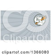 Clipart Of A Retro Cartoon Polar Bear Plumber Mascot Wielding A Monkey Wrench In A Circle And Gray Rays Background Or Business Card Design Royalty Free Illustration by patrimonio