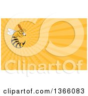Clipart Of A Cartoon Killer Bee Baseball Player Mascot Batting And Orange Rays Background Or Business Card Design Royalty Free Illustration