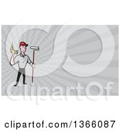 Poster, Art Print Of Cartoon Handyman Worker With A Drill And Paint Roller Brush And Gray Rays Background Or Business Card Design