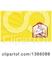 Retro Refrigeration Mechanic Worker Holding A Pressure Gauge And Yellow Rays Background Or Business Card Design