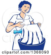 Retro Housewife Washing Laundry In A Basin