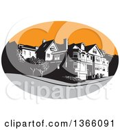 Clipart Of A Retro American Mansion House In A Gray And Orange Oval Royalty Free Vector Illustration