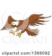 Cartoon Flying Bald Eagle