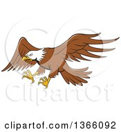 Clipart Of A Cartoon Flying Bald Eagle Royalty Free Vector Illustration