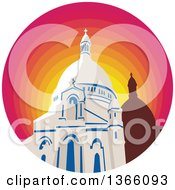 Clipart Of A Retro WPA Style Catholic Church Dome Cathedral In A Gradient Sunset Circle Royalty Free Vector Illustration