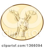 Clipart Of A Retro Sketched Or Engraved Red Stag Deer Buck In A Brown And Tan Oval Royalty Free Vector Illustration