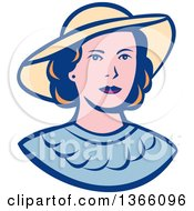Clipart Of A Retro White Lady Wearing A Hat Royalty Free Vector Illustration by patrimonio