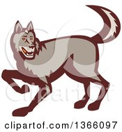 Clipart Of A Retro Stalking Wolf Royalty Free Vector Illustration