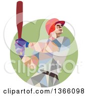 Clipart Of A Retro Low Polygon Style Style Baseball Player Batting In A Green Circle Royalty Free Vector Illustration