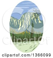 Clipart Of A Retro Wpa Styled Landscape Of El Capitan In Yosemite National Park Royalty Free Vector Illustration