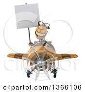 Clipart Of A 3d Bespectacled Business Camel Aviator Pilot Holding A Blank Sign And Flying A Brown Airplane On A White Background Royalty Free Illustration