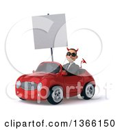 Clipart Of A 3d Young White Devil Business Man Wearing Sunglasses Holding A Blank Sign And Driving A Red Convertible Car On A White Background Royalty Free Illustration