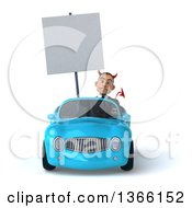 Clipart Of A 3d Young White Devil Business Man Holding A Blank Sign And Driving A Blue Convertible Car On A White Background Royalty Free Illustration
