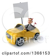 Clipart Of A 3d Young White Devil Business Man Holding A Blank Sign And Driving A Yellow Convertible Car On A White Background Royalty Free Illustration