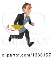 Clipart Of A 3d Young White Devil Business Man Holding A Banana And Sprinting On A White Background Royalty Free Illustration