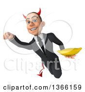 Clipart Of A 3d Young White Devil Business Man Holding A Banana And Flying On A White Background Royalty Free Illustration