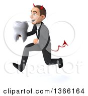 Clipart Of A 3d Young White Devil Business Man Holding A Tooth And Sprinting On A White Background Royalty Free Illustration