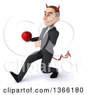 Clipart Of A 3d Young White Devil Business Man Holding A Tomato And Speed Walking On A White Background Royalty Free Illustration