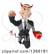 Clipart Of A 3d Young White Devil Business Man Holding A Tomato And Flying On A White Background Royalty Free Illustration
