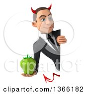 Clipart Of A 3d Young White Devil Business Man Holding A Green Bell Pepper Around A Sign On A White Background Royalty Free Illustration