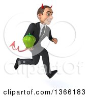 Clipart Of A 3d Young White Devil Business Man Holding A Green Bell Pepper And Sprinting On A White Background Royalty Free Illustration